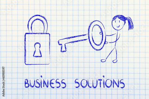 finding the best business solution, funny girl with key and lock