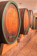 Carved casks in wine cellar of great Slovak producer.