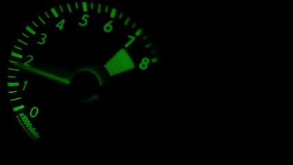 CAr 8000 rpm Tachometer metering video RED/Green glowing