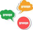 grunge word on modern banner design template. set of stickers