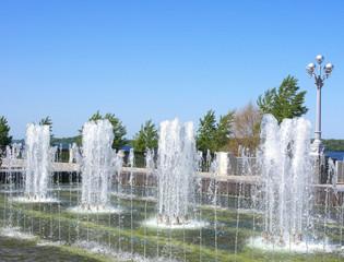 Fountain on quay of river Volga