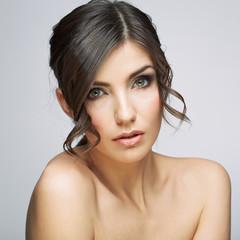 Beautiful woman portrait . Nude shoulders.