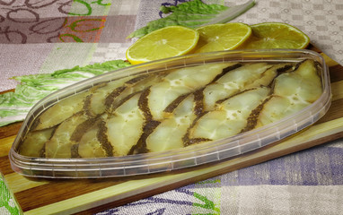 Fish canned smoked halibut.
