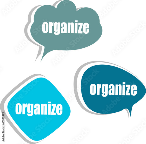 organize. Set of stickers, labels, tags. Business banners