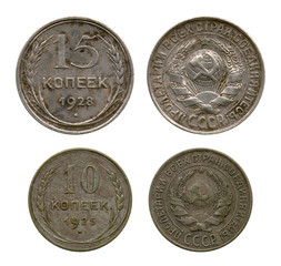 ten and fifteen kopecks, USSR, 1925-1928