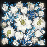 abstract grunge blue background with spring floral ornament