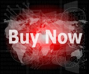 The word buy now on digital screen, business concept