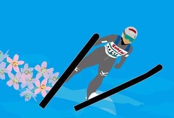 冬のスポーツのスキージャンプのイラスト