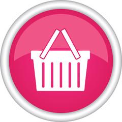 Круглый векторный розовый знак с изображением корзины