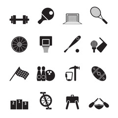 Silhouette Sports gear and tools - vector icon set