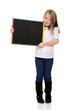 blonde child holding chalkboard