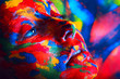 woman in colourful paint