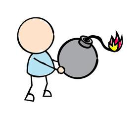 Man Holding Bomb