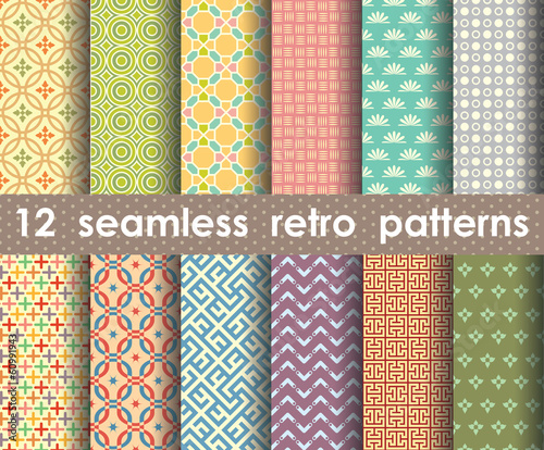 collection of seamless retro patterns