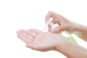 Liquid soap in female hands