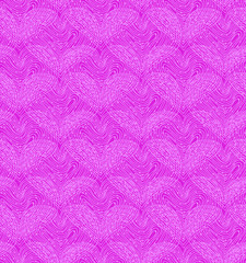 Pink seamless pattern with linear hearts