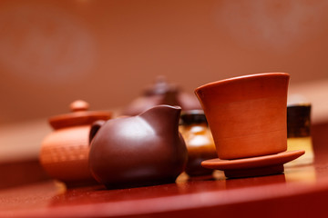 Traditional asian brown clay tableware