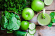 Green smoothie with apples,parsley,spinach,cucumber,lime and min - 60994105