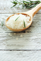 Spoon of sea salt