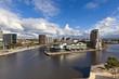 Leinwanddruck Bild - Cityscape at Salford Quays in Manchester, Enlgand.