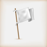 Realistic White Flag Icon. Surrender Concept. Banner Template. V
