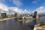 Cityscape at Salford Quays in Manchester, Enlgand.