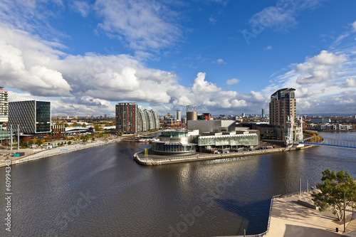 Staande foto Theater Cityscape at Salford Quays in Manchester, Enlgand.