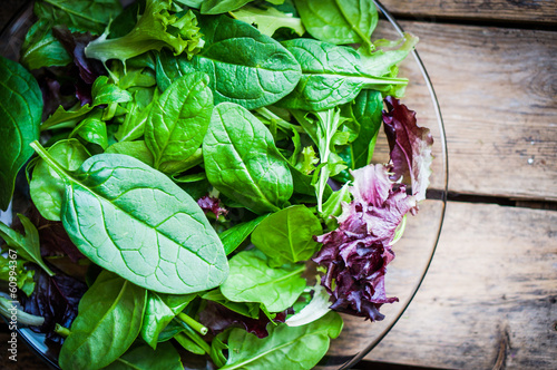 Foto op Aluminium Groenten Freshh green salad with spinach,arugula,romane and lettuce