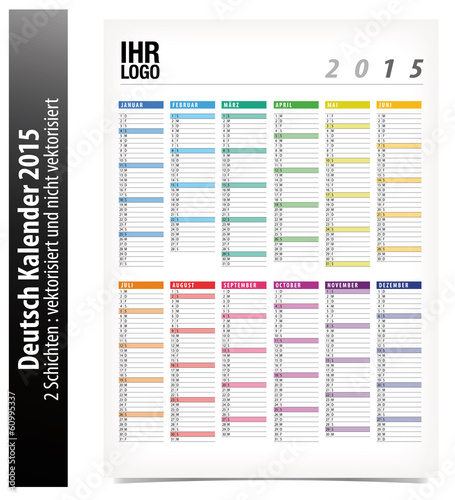 German Calendar 2015 - Deutsch Kalender 2015