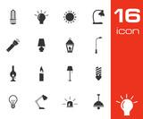 Vector black light icons set poster