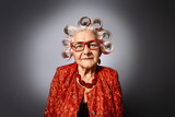 grandma with curlers