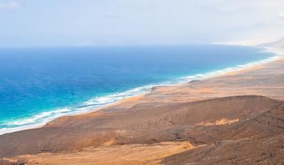 Wild coast on Fuerteventura Island. Canarias