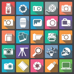 Photography icon set flat