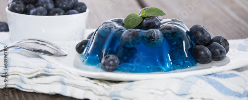 Blueberry Jello isolated on white