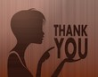 noble woman silhouette with thank you