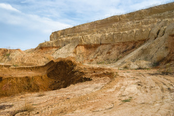 An open clay pit near Dnepropetrovsk city in central Ukraine .