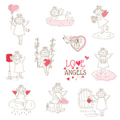 Set of cute Angels and Cupids - Love, Wedding, Valentine's Theme