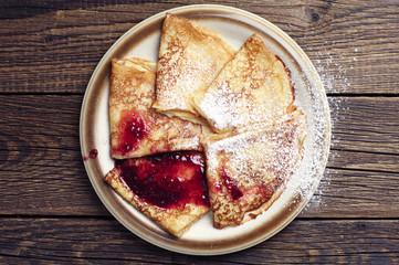 Fried pancakes with jam