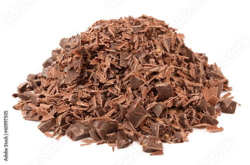 Dark chocolate on a white background