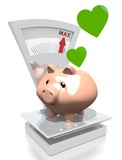 money pig with heart on a scale