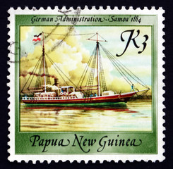 Postage stamp Papua New Guinea 1988 Samoa, 1884, Ship