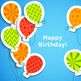 Happy birthday postcard with balloons. Vector illustration