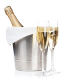 Champagne bottle and two glasses - 60998325