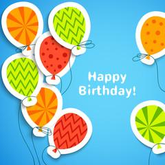 Happy birthday postcard with balloons. Vector illustration