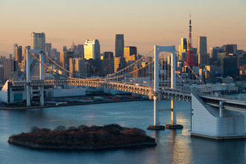 Tokyo city and Rainbow bridge ,Japan