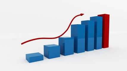 Business graph. Growing bar chart