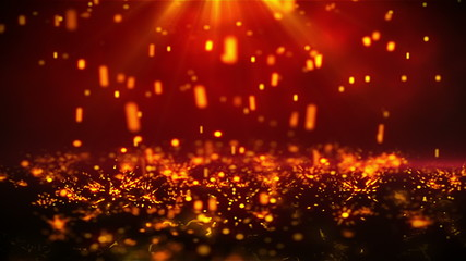 Golden Rain. Abstract background with motion particles