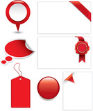 red marketing and sale tags, bubbles, banners