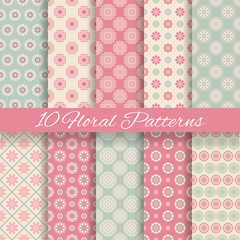 Floral different vector seamless patterns (tiling).