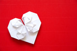 Heart made ​​of paper origami for Valentine's day